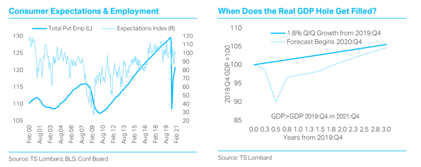 TS Lombard blog Steven Blitz Chart US consumer expectations and employment